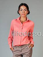 Блуза с круглым воротником персиковая, фото 1