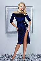 Женское велюровое платье цвета электрик