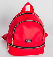 """Стильный женский рюкзак """"Moschino"""" красного цвета + серьги в подарок"""