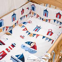Защита бампер в детскую кроватку  из двух частей Кораблики