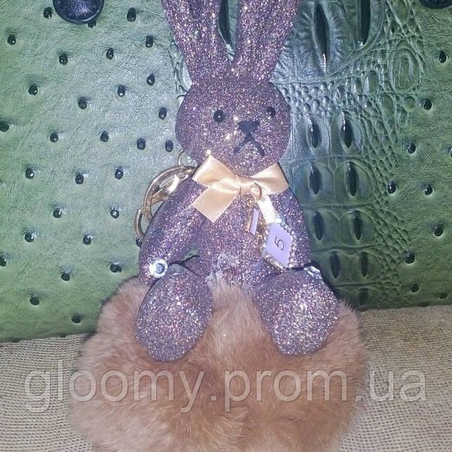 Брелок - зайчик, натуральный мех, коричневый