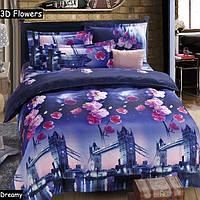 4шт 3d Плам Блоссом мост реактивной крашения полиэфирного волокна постельные наборы Королева двуспальная пододеяльник