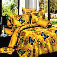 4шт костюм 3d золотые бабочки подсолнечника реактивной крашение полиэфирных волокон комплекты постельных принадлежностей королева крова
