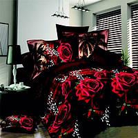 4шт костюм полиэфирного волокна 3d красная роза черный низ реактивной крашение комплекты постельных принадлежностей Королева Король разм