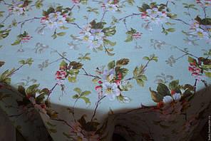 Скатерть 140*180 ,Яблоневый цвет , мята.
