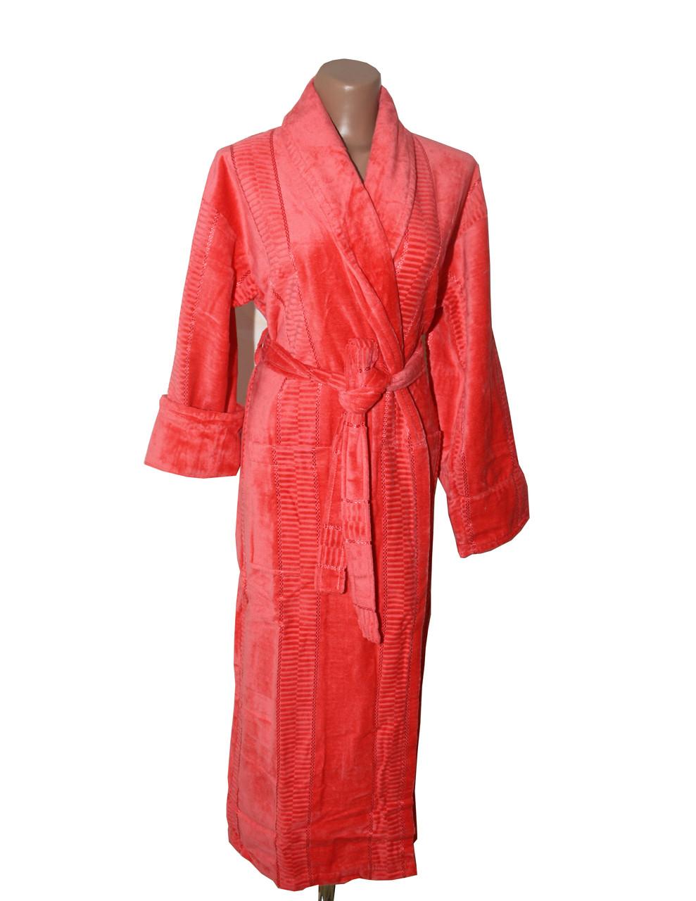 Женский халат длинный без капюшона Imray Salyaka терракот