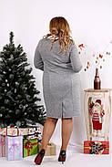 Женское платье из ангоры с белым воротничком 0681 / размер 42-74 цвет серый, фото 4