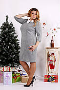 Женское платье из ангоры с белым воротничком 0681 / размер 42-74 цвет серый, фото 3