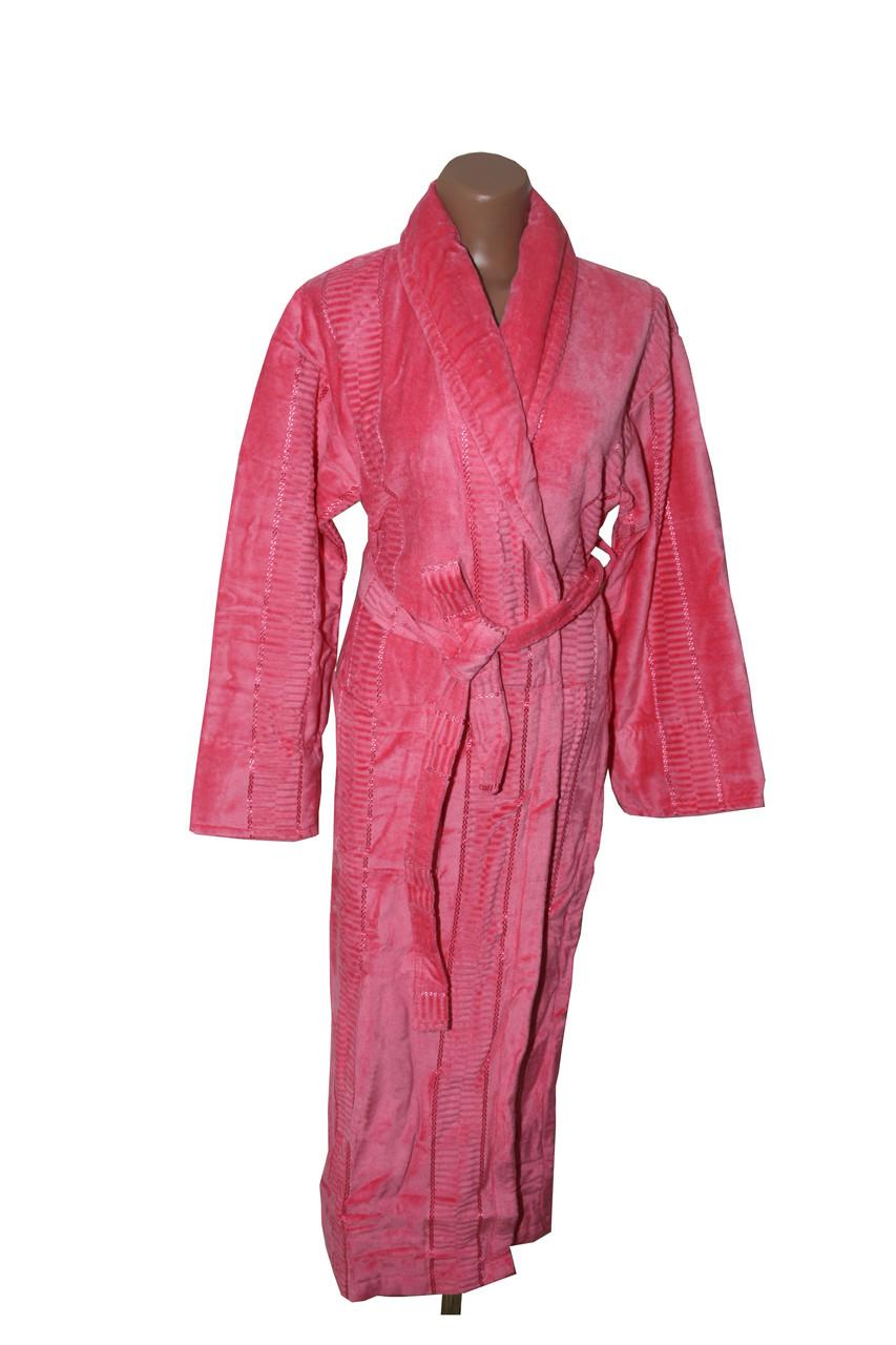 Женский халат длинный без капюшона Imray Salyaka розовый