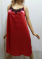 Ночная рубашка атлас со стрейчем, украшенная французским чёрным кружевом, от 54 до 58 размера, Харьков, фото 2