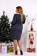 Женское платье из ангоры с белым воротничком 0681 / размер 42-74 цвет синий, фото 4