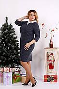 Женское платье из ангоры с белым воротничком 0681 / размер 42-74 цвет синий, фото 3