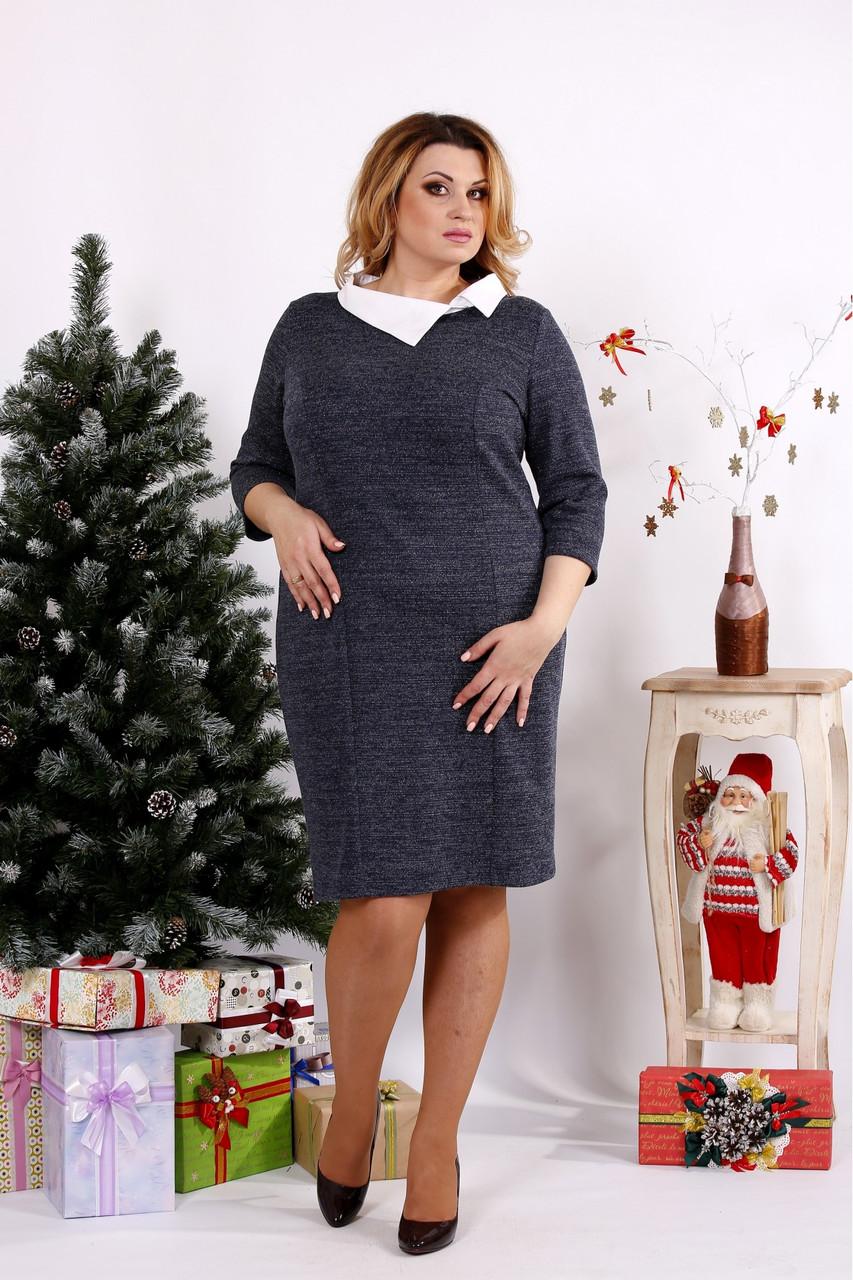 Женское платье из ангоры с белым воротничком 0681 / размер 42-74 цвет синий