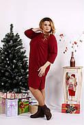 Женское платье с карманами 0678 / размер 42-74 цвет бордо, фото 3