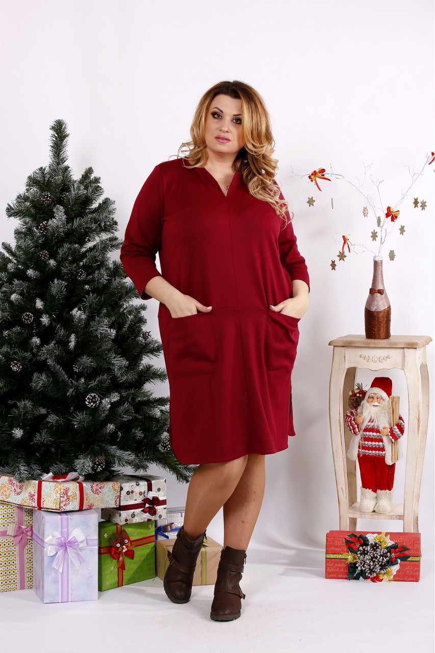 Женское платье с карманами 0678 / размер 42-74 цвет бордо