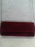 Вечерний клатч женский бордовый велюровый (Турция)