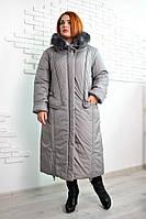 Зимнее длинное женское пальто Венера оливковый