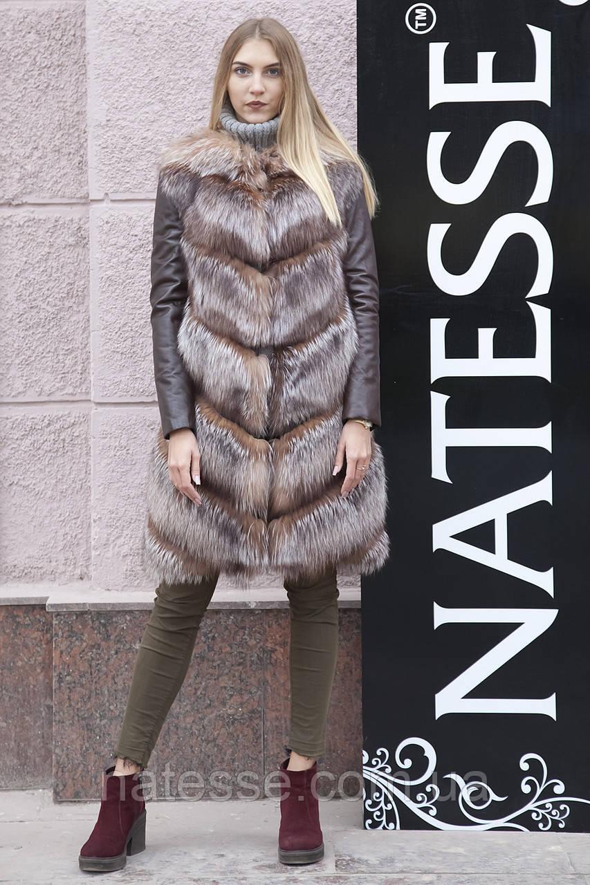 """Шуба меховое пальто из чернобурки """"Азиза"""" silver fox fur coat jacket"""