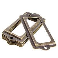 12шт античный латунный держатель этикетки металла имя файла тянуть рама ручка карточка мебель ящик шкафа случае