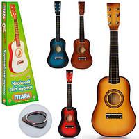 Детская деревянная гитара, аналог взрослого музыкального инструмента, настраиваемые струны, фото 1