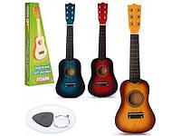 Детская деревянная гитара с настоящими струнами, 6 струн+ медиатр, в наличии мнгого разный цветов, фото 1