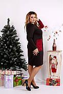 Женское платье двухцветное с карманами 0673 / размер 42-74 цвет бордо, фото 2