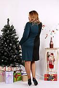 Женское платье двухцветное с карманами 0673 / размер 42-74 цвет зеленый, фото 4