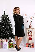 Женское платье двухцветное с карманами 0673 / размер 42-74 цвет зеленый, фото 2
