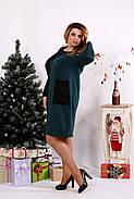 Женское платье двухцветное с карманами 0673 / размер 42-74 цвет зеленый, фото 3