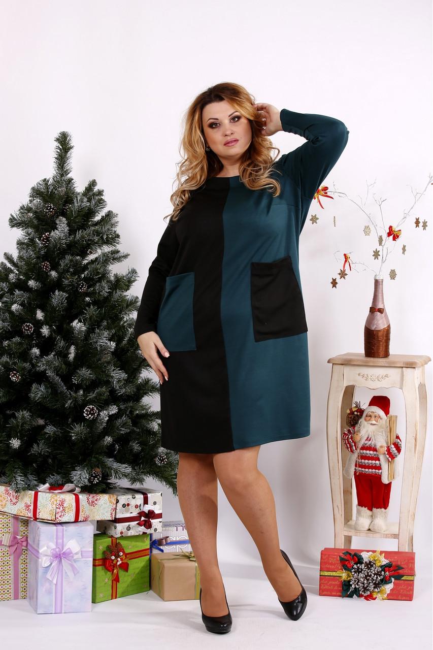 Женское платье двухцветное с карманами 0673 / размер 42-74 цвет зеленый
