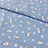 Фланель (байка) с белыми полярными мишками и звездочками на голубом фоне, ширина 95 см