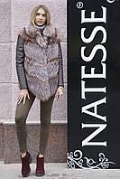 Полушубок меховая куртка из чернобурки silver fox fur coat vest gilet