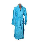 Длинный женский махровый халат Натуралка бирюзовый
