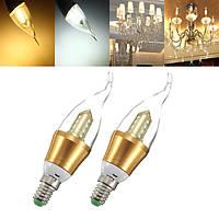 E14 нерегулируемых LED лампы 4W SMD 2 835 чистый белый / Теплый белый пламя свечи вниз света лампы AC 85-265V
