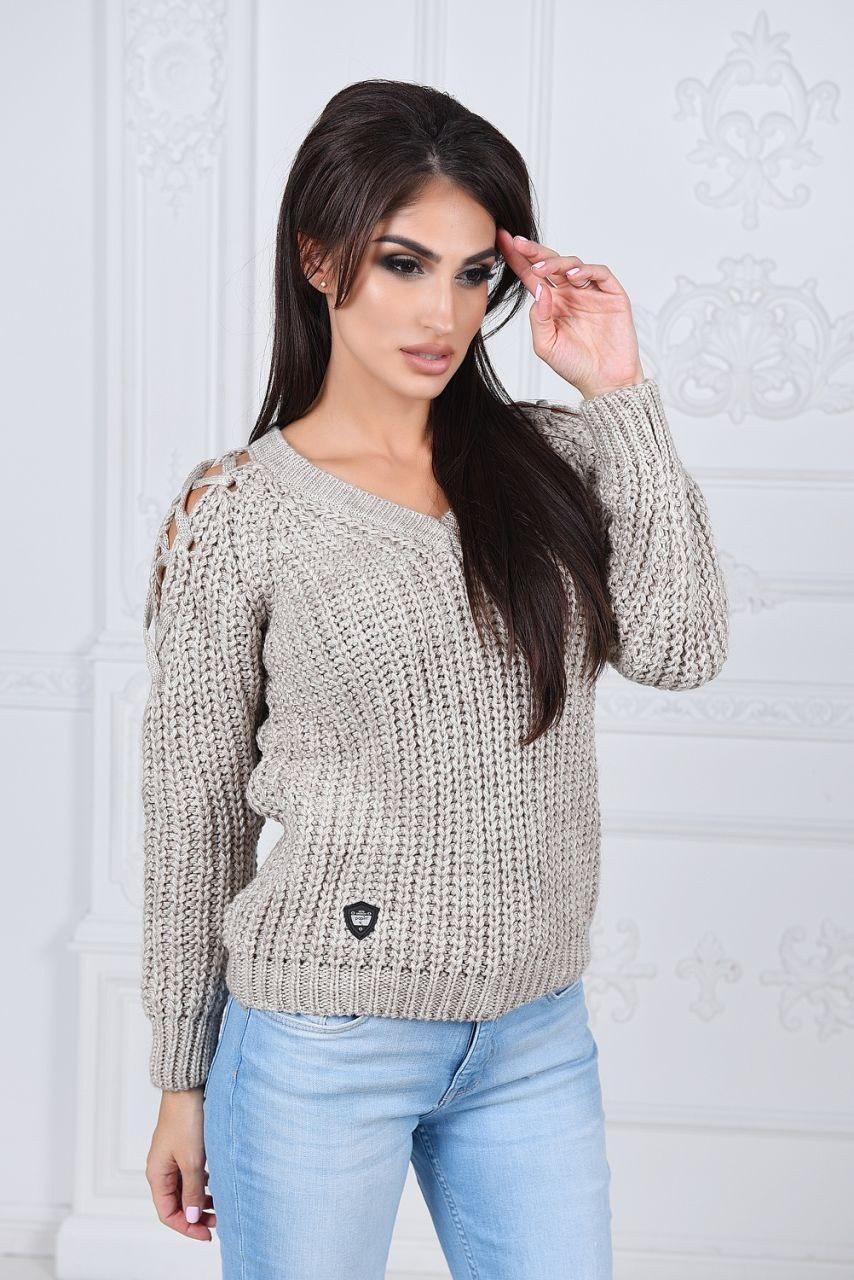 женский вязаный свитер со шнуровкой на плечах цена 390 грн купить