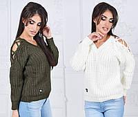 Женский вязаный свитер со шнуровкой на плечах
