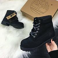 Мужские ботинки Timberland на натуральном меху черные