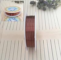 Проволока для плетения бисером, коричневая, 0,3 мм, 25 м/катушка