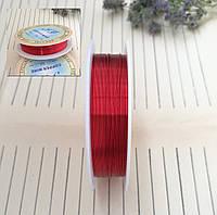 Проволока для плетения бисером, красная, 0,3 мм, 25 м/катушка