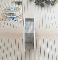 Проволока для плетения бисером, серебряная, 0,3 мм, 25 м/катушка