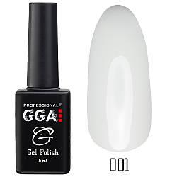 Гель-лак GGA, №001 (белоснежно-белый, эмаль), 10 мл