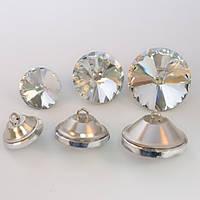 Пуговица стеклянная с металлическим ушком 20мм*1шт, цвет Crystal