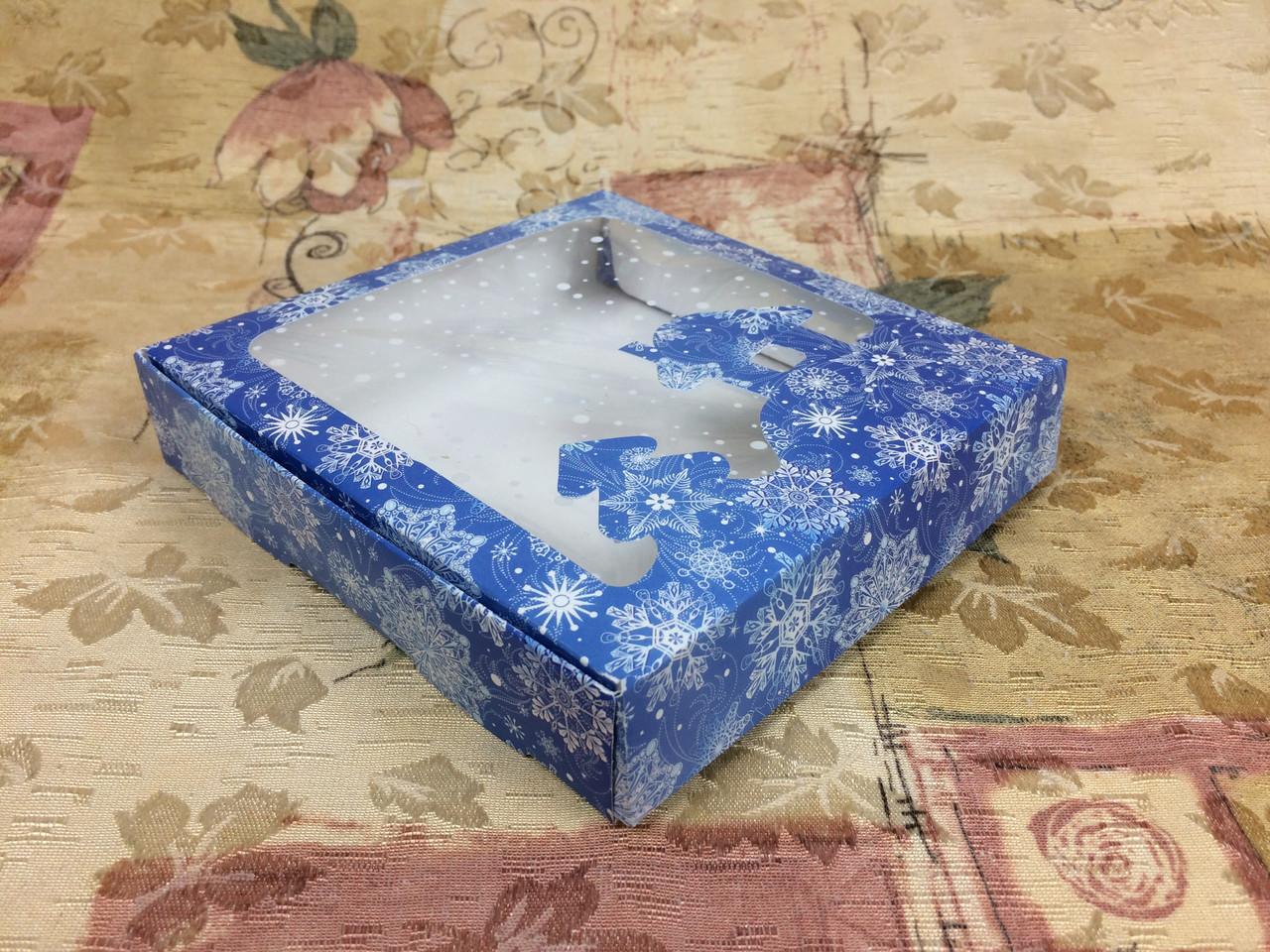 Коробка для пряников / 150х150х30 мм / печать-Снег.Син / окно-НГ / НГ