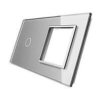 Лицевая панель для сенсорного выключателя Livolo 1 канал и розетки, цвет серый, стекло (VL-C7-C1/SR-15), фото 1