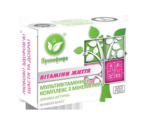 «Вітаміни життя» капс.30шт-для поліпшення функціонування нервової та серцево-судинної систем