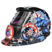 Солнечная сварщика Маска шлем электросварочного автоматическое затемнение сварочный шлем Капитан Америка шаблон