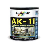 Краска для бетонных полов АК-11 Kompozit (серая) 1,0кг (1/6шт)