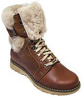 """Зимние женские ботинки """"Mida"""". Коричневые. Натуральная кожа. Натуральная шерсть"""