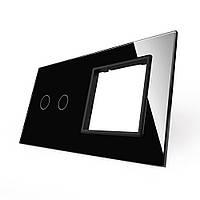 Лицевая панель для сенсорного выключателя Livolo 2 канала и розетки, цвет черный, стекло (VL-C7-C2/SR-12), фото 1