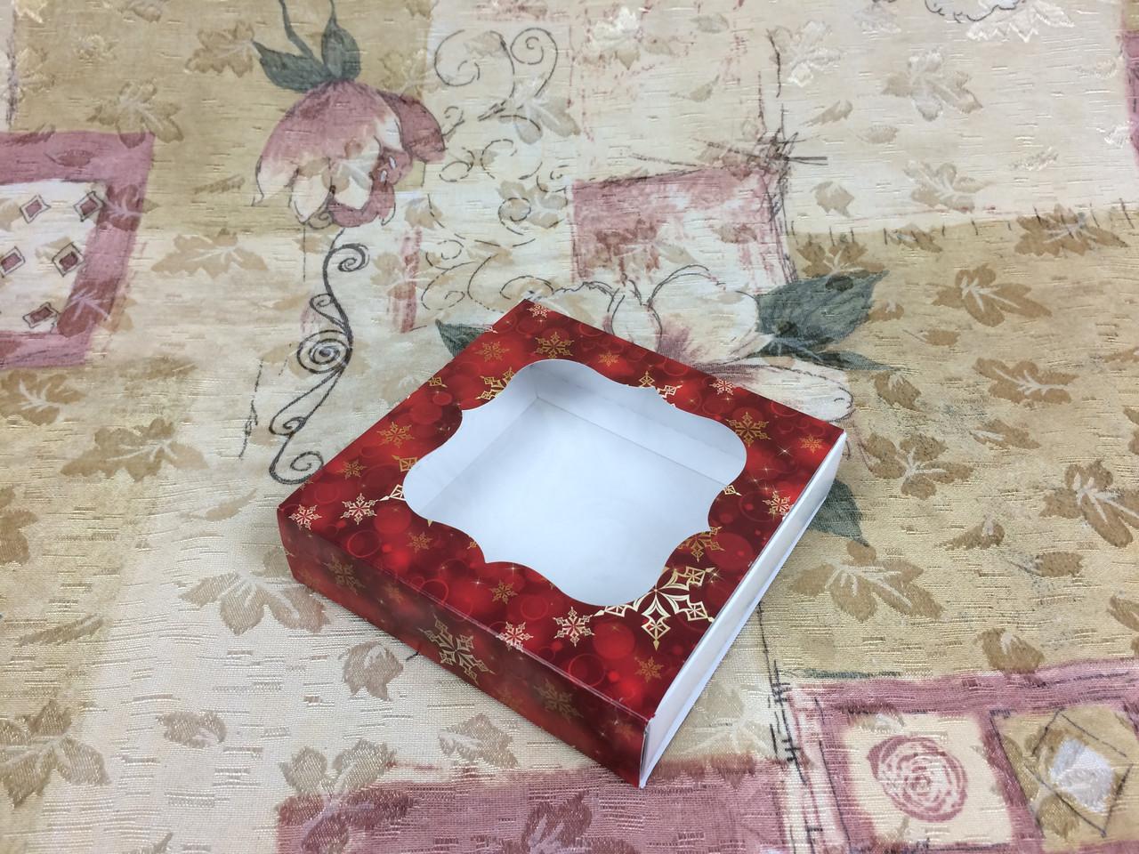 Коробка для пряников / 120х120х30 мм / печать-Снег.Красн / окно-обычн / НГ